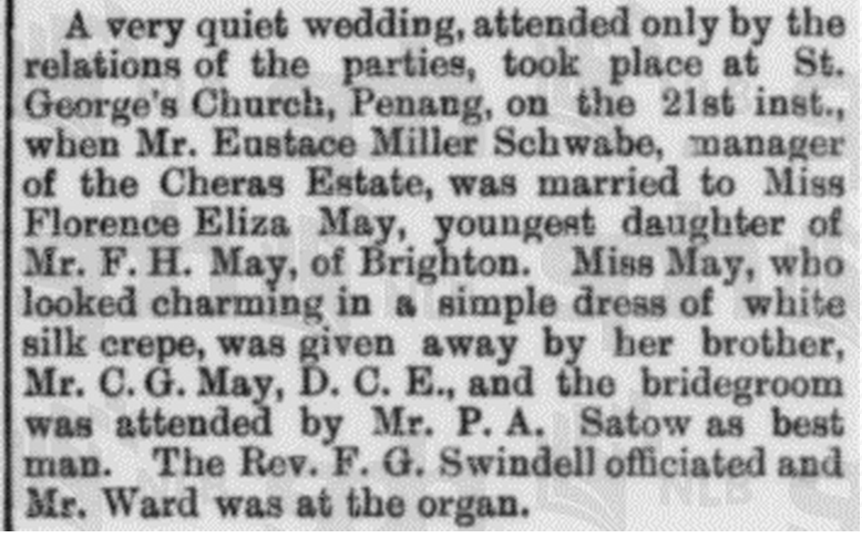 Eustace Mller Schwabe Marriage The Straits Times, 23 May 1913