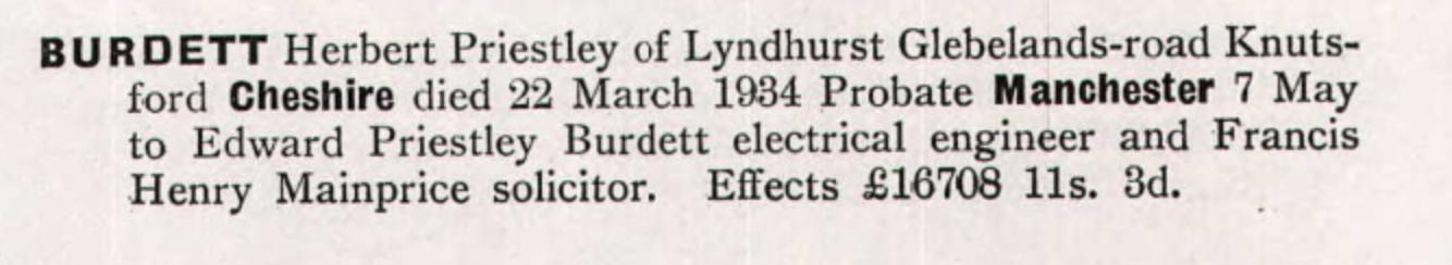 Herbert Proestly Burdett Schwabe Probate