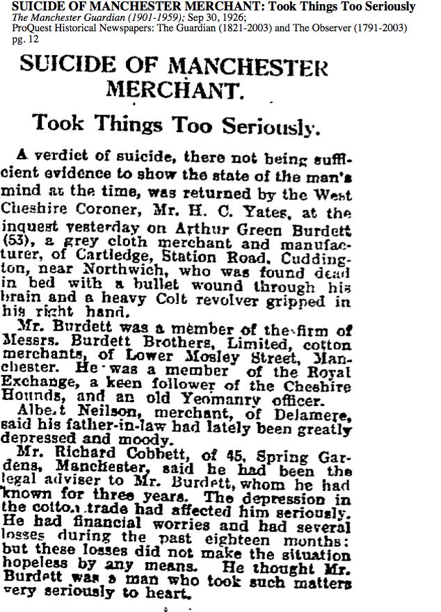 Manchester Guardian Suicide f Arthur Green Burdett Sept 30 1936