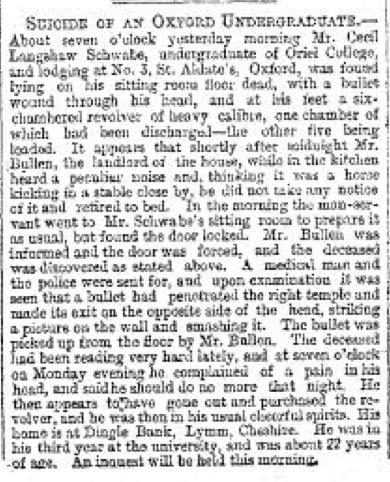 Schwabe Suicide May 6 1891