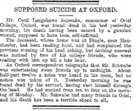 Schwabe suicide May 6 1891 The Leeds Mercury