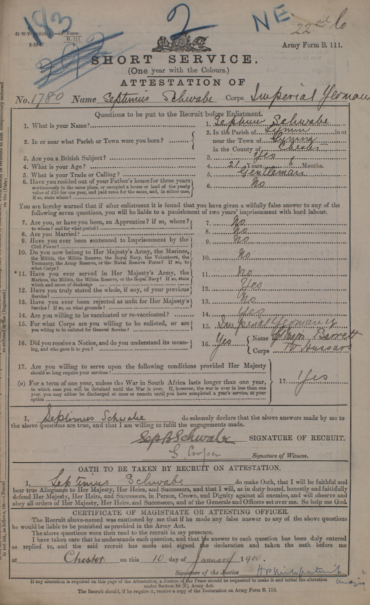 Septimus Schwabe's Infantry Record