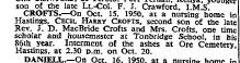 Cecil Harry Crofts Obit Oct 18 1950
