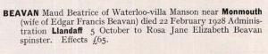 Maud Beatrice (reis) Bevan Probate