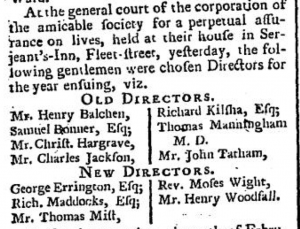 Henry Balchen May 9 1765