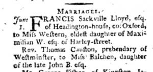Marriage of Mary Ann Balchen to Thomas Causton