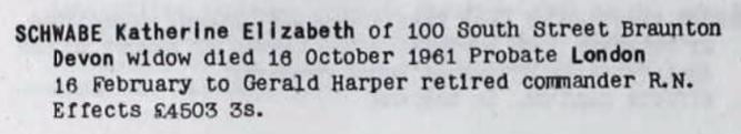 Katherine Elizabeth (Harper) Schwabe Probate