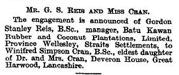 Reis-Cran Engagement Aug 1 1921