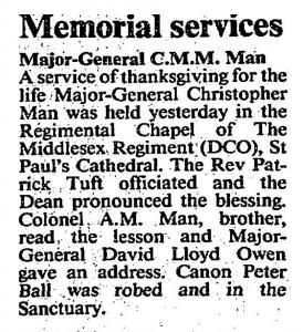 Christopher Man Memorial  January 13 1990