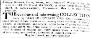 George Cumberland Auction May 05 1835
