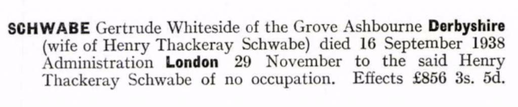 Gertrude Whiteside Schwabe Probate
