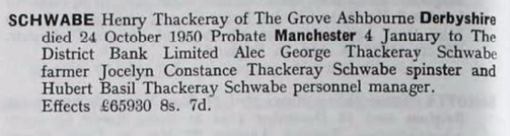 Henry Thackeray Schwabe Probate