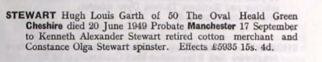 Hugh Louis Garth Stewart Probate