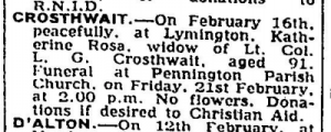 Katherine Rosa (Man) Crosthwait Death Notice  Feb 18 1975