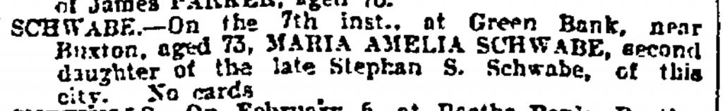 Maria Amelia Schwabe Death Notice Feb 10 1909