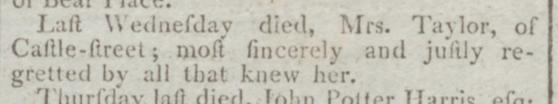 Maria Man Taylor  Monday June 26 1797