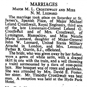 Michael Crosthwait Wedding Sep 12 1949