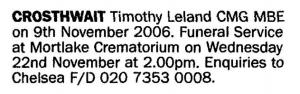 Timothy Crosthwait Death Notice  November 18 2006