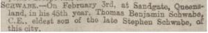 Death of Thomas Benjamin Schwabe Apr 9 1884 Manchester Courier