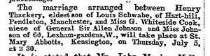 Engagement of Henry Tackeray Schwabe May 28 1894