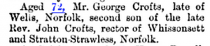 George Crofts Death 1867 Gent Magazine