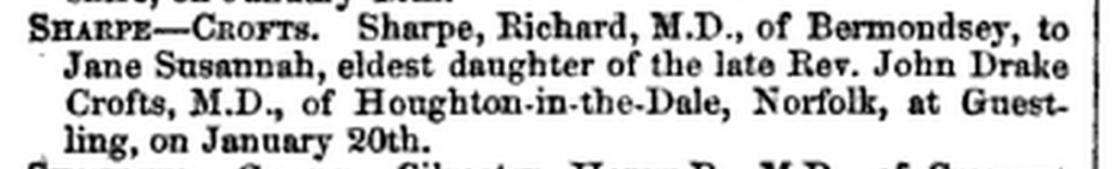 Jane Susannah Crofts Mariage British Medical Journal 1859