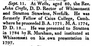 John Crofts Death Notice Gent Mag 1828