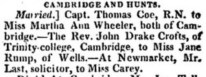 John Drake Crofts marriage Monthly Magazine 1817