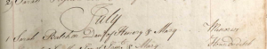 Sarah Balchen Baptism July 1 1735
