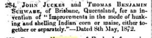 Thomas Benjamin Schwabe Australian Patent