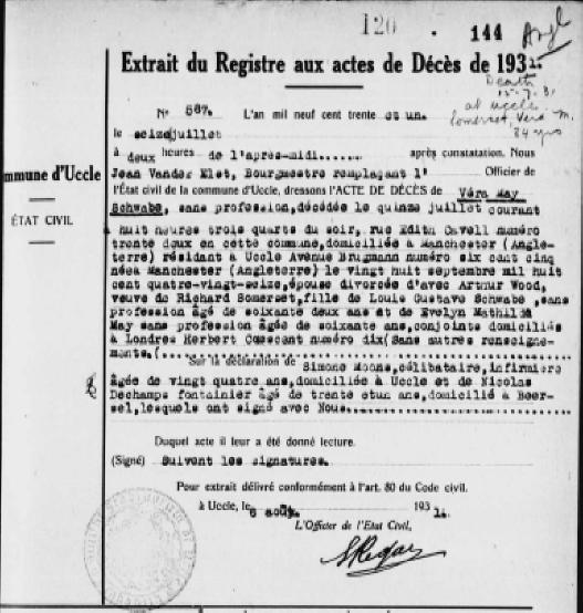 Vera Schwabe Death Report by Belgian Authorities