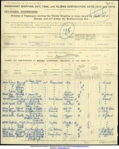 Cyril Herbert Stafford Reis on Passenger List