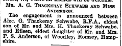 A G THackeray Schwabe Engagement 27 Sep 1922
