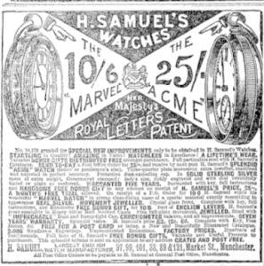 H Samuel Watch Ad December 12 1896