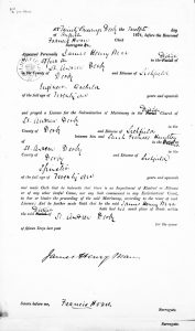 Marriage Banns of James Hnery Man and Francis Huntley