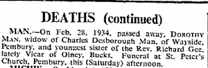 Dorothy Man Death Notice The Times 3 March 1934